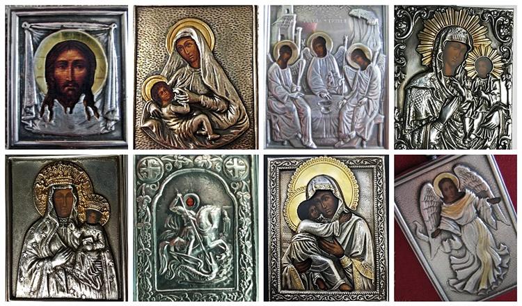 Srebrne ikony na prezent urodzinowy, chrztu świętego, komunii świętej